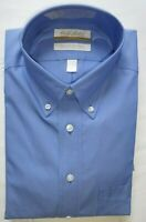 Roundtree Yorke Dress Shirt * Size 18 - 33 * Baltic Blue Btn Down Collar - NWT