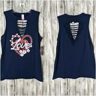 Women's Navy Blue Sleeveless Red/White & Blue Patriotic Love Shirt NWOT Size M