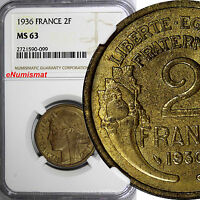 France Aluminum-Bronze 1936 2 Francs NGC MS63 TOP GRADED BY NGC KM# 886