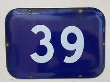 Genuine BIG vintage ISRAELI enamel porcelain number 39 house sign # 39
