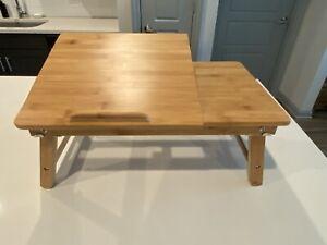 Portable Lap Desk Folding Adjustable Tilts Drawer Baffle Bed Table Stand Bamboo