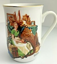 "Norman Rockwell Museum Mug ""Dreams in the Antique Shop"" Gold Edge Detail"