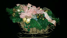 Large Gold Metal Sleigh Pink Peach Poinsettias Christmas Centerpiece Decoration