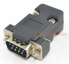 DB9 9 WAY D SUB MALE PLUG CONNECTOR WITH BLACK HOOD/SHELL (9 PIN)