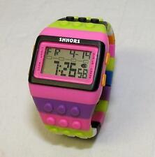 Shhors SH-715 Colorful Building Block Pink Face LED Alarm Stop Watch