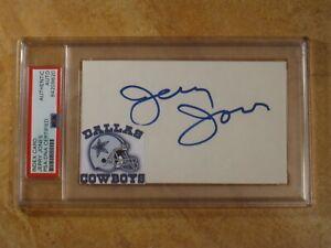 JERRY JONES OWNER DALLAS COWBOYS SIGNED AUTOGRAPHED INDEX CARD CUT RARE! PSA
