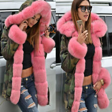 Womens Ladies Parka Coat Large Pink Faux Fur Hooded Collar Jacket Camouflage