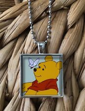 Winnie the Pooh with Butterfly Glass Pendant Silver Chain Necklace NEW