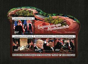 Central Africa 2018 - Donald Trump Meeting Kim Jong-un - Sheet of 4 Stamps - MNH