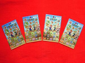 SUPER MARIO Character Stickers x 4 Sheet Nintendo Limited Edition JAPAN