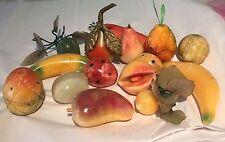 Vintage Carved Marble Stone Alabaster Fruit Mid Century Decorative Lot Of 15