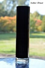 black glass cylinder slim vase 25cm/10inch centrepiece decor