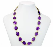 Purple Amethyst Bezel Necklace Large Oval Chain Faceted 14k Gold Fill 36 Inch