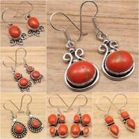 MANY STYLES EARRINGS ! ORANGE COPPER TURQUISE Gems Silver Plated Fashion Jewelry