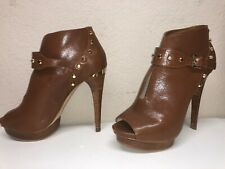 MICHAEL KORS Ailee Gold Studded Platform Brown Leather Open Toe Heels Shoes 9.5