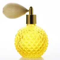100ml Empty Crystal Perfume Glass Bottle Yellow Short Spray Atomizer Refillable