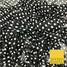 Black with 1cm White Polka Dot Spotted Crinkle Chiffon Dress Craft QF824