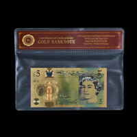 WR UK Britain £5 Pounds Color Gold Banknote Queen Elizabeth II Note /w Sleeve