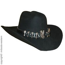 Hat Band for Cowboy Hats - Black Leather With Silver Bullets & Eagle