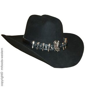 Hat Band for Cowboy Hats - Black Leather With Silver Bullets & Eagle - Brand New