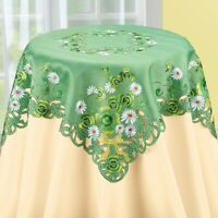 Exquisite Spring Clovers & Daisy Green St. Patrick's Polyester Square Tablecloth