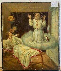 Dipinto religioso  -Icona russa - Donna ammalata guarita da un santo - Fine 800