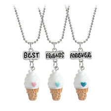3PCS/Set BFF Best Friend Forever Ice Cream Pendant Necklace for Baby Girl Boy