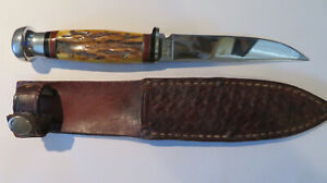 CASE XX FIXED 4 INCH BLADE KNIFE STAG HANDLE CASE SHEATH 1940-1965 MIRROR FINISH