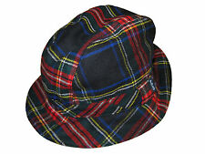 Polo Ralph Lauren Red Blue Black Tartan Plaid Wool Fedora Hat Cap