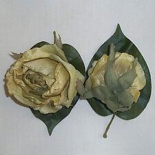 "2X Yellow Rose Artificial Silk Flower 3"" Head Hair Clip Craft"