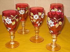 VINTAGE MURANO RUBY RED LUSTRE GLASS 5xLIQUORE/WHISKY/WINE GLASSES    (0.75/218)
