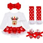 Baby Girls My First Christmas Tree Romper Bodysuit Tutu Dress Up Outfit Clothes