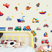 Vehicles Cars Planes Trains Bus wall stickers decals Mural Kids Removable Art