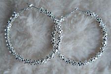 Fashionable Silver Plated Glitter like Stars Hoop Dangle Earring.