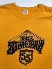 Vintage Mens L 70s Super Secretary Funny Deadstock Graphic Yellow T-Shirt