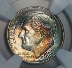 1954 10C US Roosevelt Silver Dime Coin (NGC MS 66 MS66) COBALT TONING