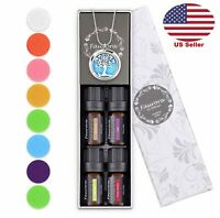 New 10ML Tree of Life Aroma Essential Oils Necklace Diffuser Christmas Gift Set
