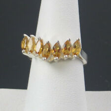 7 CITRINE CHEVERON HIGH PROFILE GALLERY  RING, .925 SS, SIZE 7