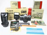 Canon AE-1 Program 35mm Manual SLR Film Camera with 50mm Lens & Box W/ Paperwork