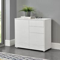 [en.casa] Sideboard Konsole Kommode Wandschrank Wohnzimmerschrank Weiß hochglanz