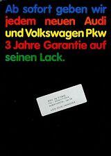 VW Audi Prospekt 3/83 3 Jahre Garantie Lack brochure 1983 Lackierung Auto PKWs