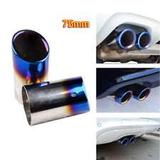 75mm for Audi A4 B8 Q5 Rear Muffler Stainless Steel Exhaust Tailpipes Tips Blue