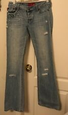 Hollister Jeans Size 5 Woman's Blue Beaded Pockets Decorated Holes