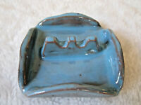 "VINTAGE TURQUIOSE BLUE GLAZED CERAMIC ASHTRAY 3.5"" HAND MADE POTTERY RETRO"