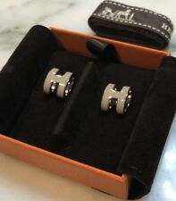 Authentic Hermes Earrings Ear Ring Pop H Beige Nude Natural Colour Silver