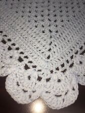 New listing Little Boy Blue Crocheted Baby Blanket With Ruffled Edges 33 Inches Square
