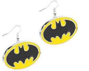 New Superhero DC Comics Batman Logo Dangle French Wire Earrings W/Gift Box