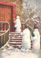 CHRISTMAS, 3 SNOWMEN VISITING A HOME, CARRYING FLOWERS, WINE, FRIDGE MAGNET