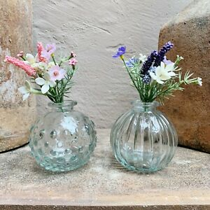 Pair of Small Clear Glass Jive Bud Vases, Round, Textured, Vintage Wedding