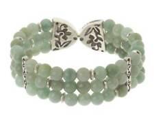 NWOB Chinese Jade Celebrate Light Beaded Sterling Cuff Bracelet